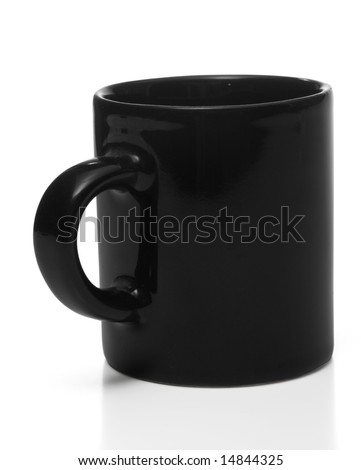 Black coffee cup, isolated, with clipping path