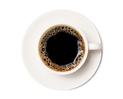 black coffee in a coffee cup top view  isolated on white background. with clipping path.