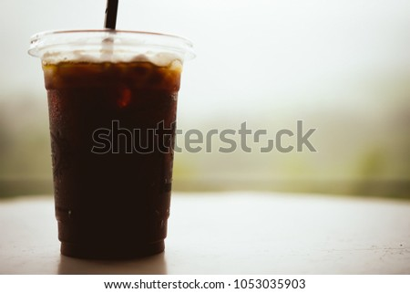 black coffee in cafe with...