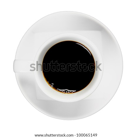 Black coffee in white cup, view top with clipping path