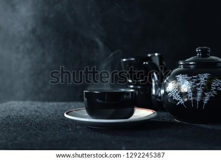 Black Coffee  on Black background Photo stock ©