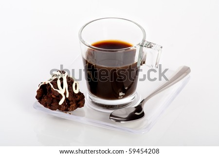 black coffee with a piece of chocolate desert