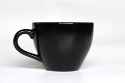 Black color coffee mug on white background