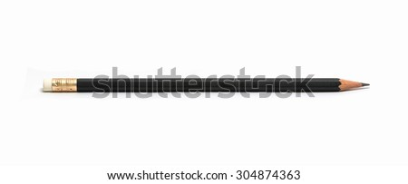 Black color pencil isolated on white background.