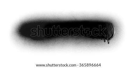 Black color spray paint or graffiti design element on a white background paper #365896664