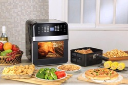 black color square technology air fryer oven