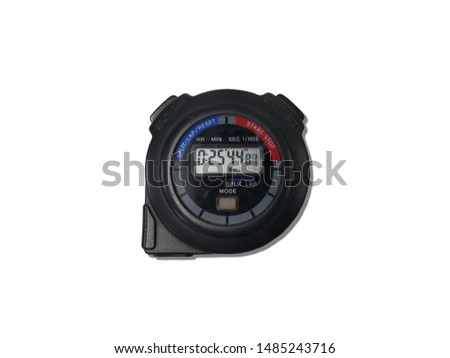 Black color stopwatch isolated on white background, stopwatch is special watch with buttons that start/pause and stop and then zero. It is used to time races. #1485243716