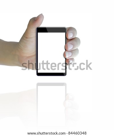 black color touch phone in hand on white background.