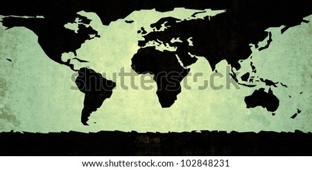 Black colored rough representation of the world map, on a green background