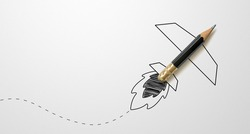 Black colour pencil with outline rocket on white paper background. Creativity inspiration ideas concept