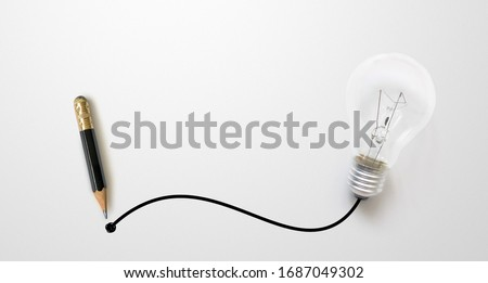 Black colour pencil with outline to end point and light bulb on white paper background. Creativity inspiration ideas concept