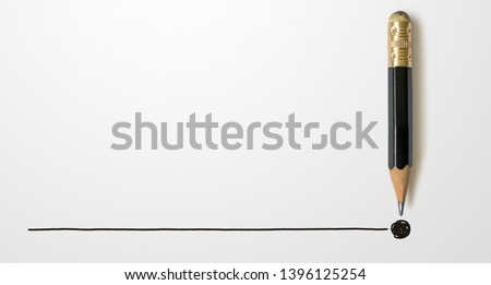Black colour pencil with outline to end point on white paper background. Creativity inspiration ideas concept