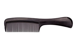 Black comb on a white background.