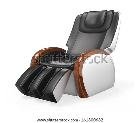 Black comfortable leather reclining massage chair with wood armrest, clipping path included. original design.