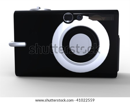 Black compact digital camera icon isolated