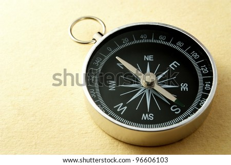 black compass on a gradient yellow background