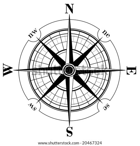 Black compass rose isolated on Compass Rose Clipart Black And White
