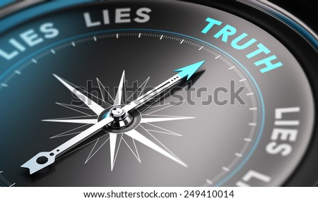 Black compass with needle pointing the word truth. Blue tones. Background image for illustration of solutions concept