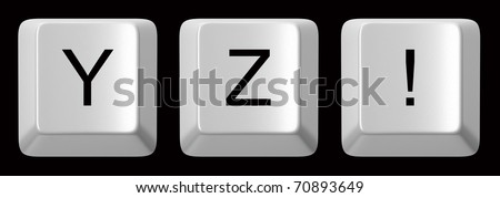 Black computer key with clear space isolated on white
