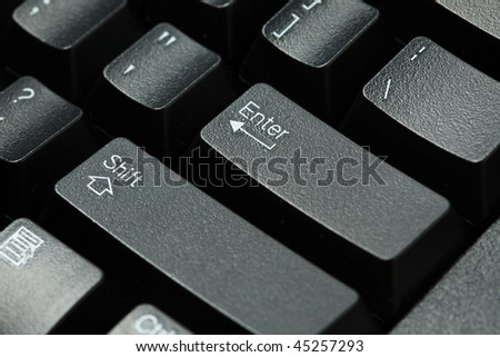 Black computer keyboard isolated on white background