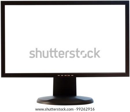 black computer monitor with white screen isolated with clipping path on white background