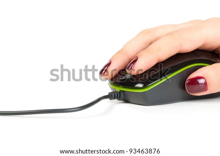 Black Computer mouse in hand isolated on the white background