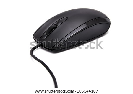 Black computer mouse on a white background