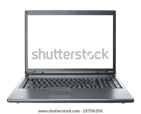 black computer notebook isolated on white background