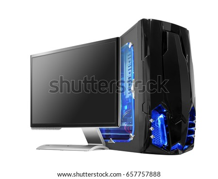 black computer with monitor and blue light  #657757888