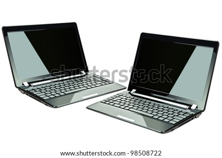 Black computers isolated on white