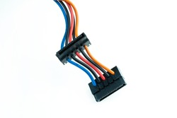 black connector on colored wires on an isolated background