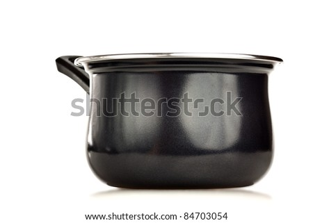 Black cooking pot on a white background