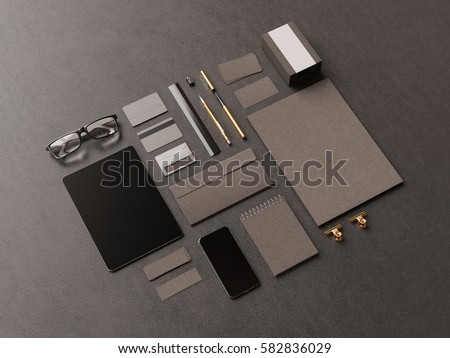 Black Corporate Identity. Branding Mock Up. Office supplies, Gadgets. 3D illustration. High quality