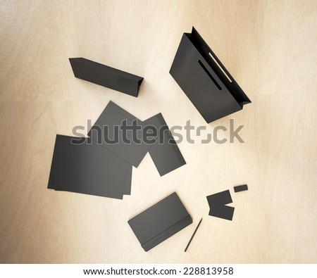 Black corporate template. Template for branding identity. Top view.
