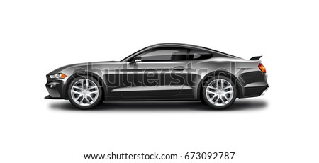 Black Coupe Sporty Car. Generic automobile with glossy and carbon fiber surface on white background. Side view with isolated path.