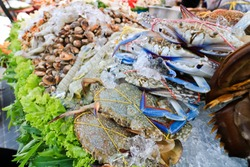 black crab Thailand called farmer crab and fresh shrimp that is famous of Thailand Steer food