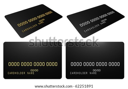 Black credit card isolated over the white background