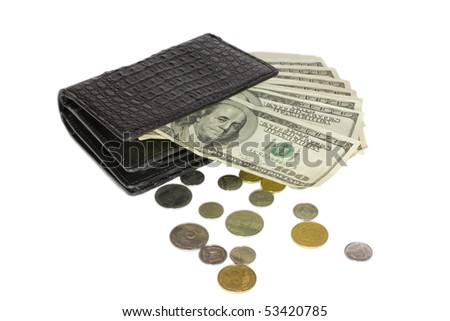 Black crocodile leather wallet with money