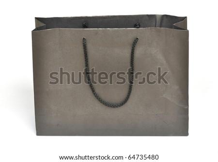 Black crumpled shopping paper bag