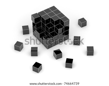 Black cube 3D. Isolated.