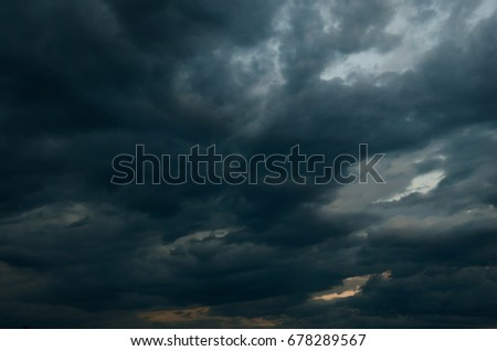 Black cumulus clouds before the beginning of a strong storm