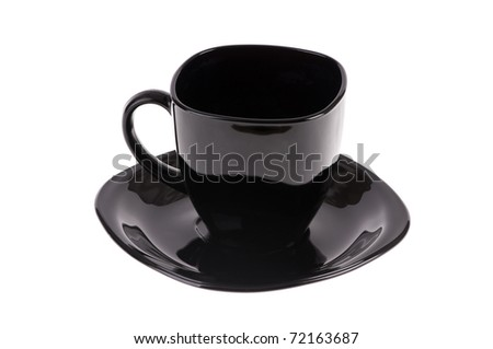 black cup and saucer isolated on white background