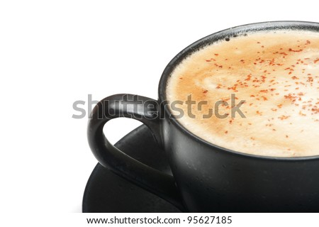 black cup of cappuccino