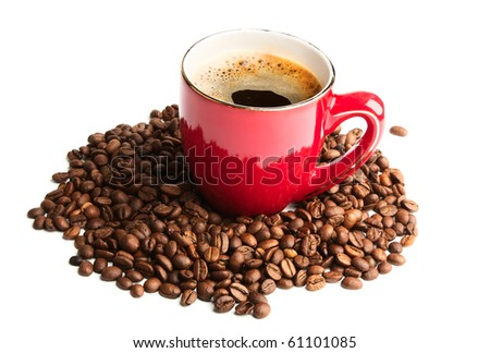 black cup of coffee and coffee beans isolated on white background