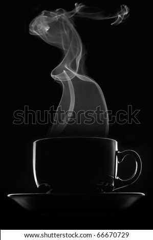 Black cup of coffee with steam on black background.