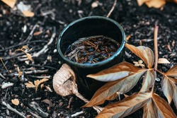 Black cup with delicious herbal wiccan tea. Hiking tea with forest berries and herbs. Black mug standing on the ground next to a rich orange color leaf