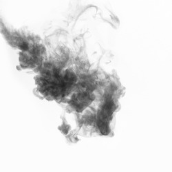 Black curly smoke isolated on white background. Inverted frame. Abstract mystical smoke for your photos.