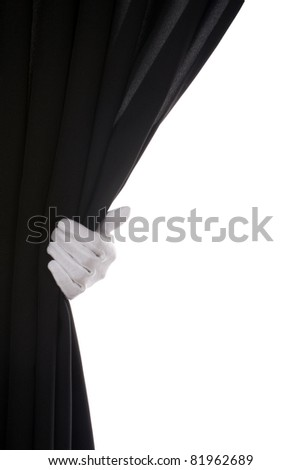 Black Curtain hand over white