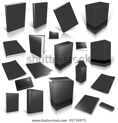 Black 3d blank cover collection, isolated on white