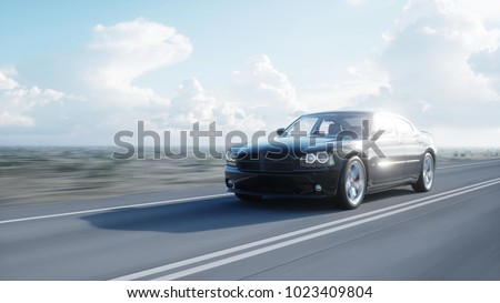Black 3d car on road, highway. Daylight. Very fast driving. 3d rendering.